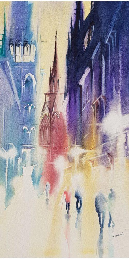 Cathédrale Notre Dame de ROUEN la nuit